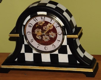 Whimsical Mantle Clock Handpainted Checks Whimsical Checks