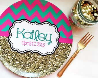 Personalized Melamine Plate - Gold Glitter Plate - chevron  Plate - birthday Plate - Monogrammed Plate