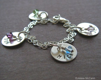 """Personalized Bracelet - Custom Sterling Silver Hand Stamped Charm Jewelry - 1/2"""" Charms with Optional Birthstones or Pearls"""