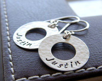 """Personalized Washer Earrings - Hand Stamped Sterling Silver - 3/4"""" Custom Textured Washer Earrings with Names or Initials"""