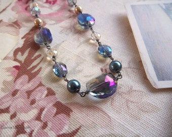 Gorgeous crystal, glass and pearl necklace strung vintage-style with gunmetal findings