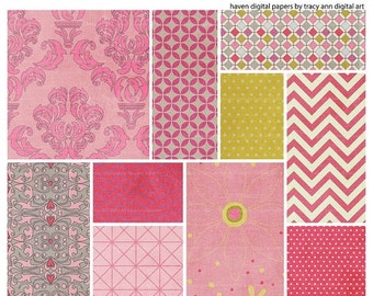 Digital Download Papers Haven Printable Scrapbook Paper Pink Damask  Pink Chevron Craft Sheet per