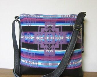 Wool Purse Shoulder Bag Messenger Black Leather Adjustable Strap Wool from Pendleton Oregon