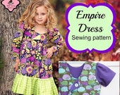 SALE Empire Dress Sewing Pattern Tutorial by Whimsy Couture Short or Long Sleeve  12m- 11/12 girls PDF