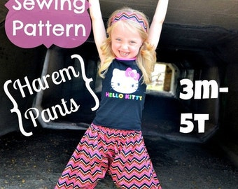 SALE Harem Pants Pattern Tutorial by Whimsy Couture 3 months through 5t PDF Instant
