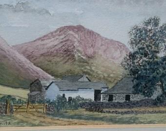 Vintage Original Scottish Farm Landscape Watercolor Painting Framed