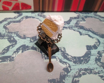 Vanilla Cake Slice Adjustable Antiqued Brass Ring with Spoon Charm