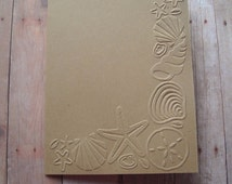 Kraft Blank Embossed Note Cards with Envelopes, Beach Theme, SET OF 6