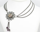 Steampunk Gunmetal Asymmetrical Necklace with Vintage Watch and Amethyst Plum Swarovski Crystal Beads by Velvet Mechanism