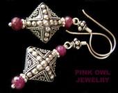 Large Ruby Bali Sterling Silver Earrings, Renaissance cross beaded Regal Royal Graulated Feminine Stylish, Diamond shape 925 PinkOwlJewelry