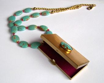 Nevada Turquoise Necklace natural american turquoise huge Vintage Locket Pendant Keepsake Box Treasure Ruby Pink Magenta lined Aqua Blue