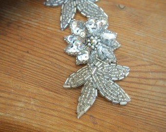 Beaded vintage flower applique silver color made of glass beads and sequines