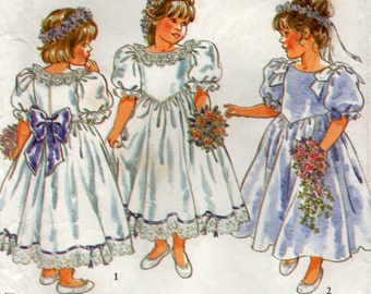 1990s Toddlers Girls Formal Flowergirl Dress Bridal Sewing Pattern 6 Sizes New Look 6544 party dress