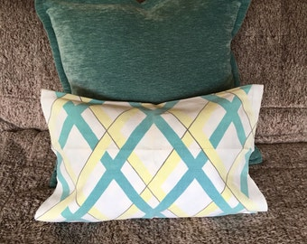 ONE Vintage tea towel pillow cover aqua yellow geometric atomic mid century modern linen home decor cushion