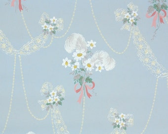 1940s Vintage Wallpaper by the Yard - White Daisies Pink Ribbons and White Plumbs on Blue