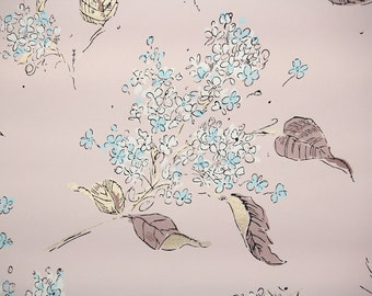 1940s Vintage Wallpaper by the Yard - Blue Flowers and Brown Leaves on Pink Background, Floral Wallpaper