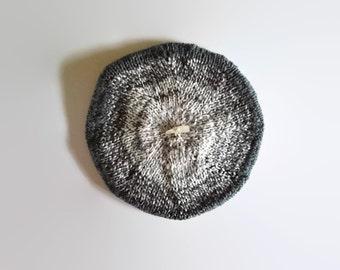 Gradate Gray Wool French Beret, Slouchy Hat, Winter, Womens, Tam O Shanter, Cute, Knit Wool Beret, Hand Knit Beret, Chunky Knit Hat, branda