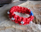 Red Paracord Bracelet with Silver Beads