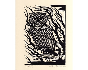 Art, Owl Linocut Wall Art Print, Hand Carved and Hand Printed Owl Print, Linocut Wall Decor