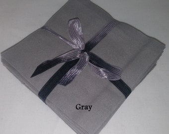 Solid GRAY Flannel Squares, FLANNEL Fabric, Rag Quilt Squares, pick colors quantity and size, We Cut You Sew
