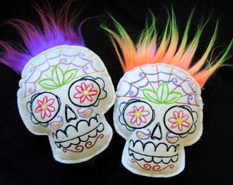 "Color Choice Embroidered Felt Sugar Skull Pin Cushion BJD Accessory 4 1/2"" Plush Stuffie"