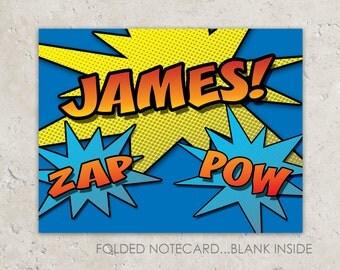 superhero thank you notes - comic - folded notecards
