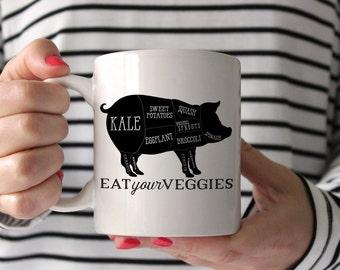 Veggie Pig Mug, Unicorn Funny Coffee Mug, Funny Coffee Mug, Birthday Gift, Coffee Gift - Barbecue - Vegan - Carnivore -  gift for vegetarian