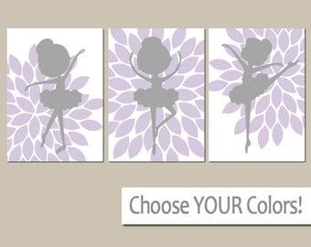 BALLERINA Wall Art, Princess Wall Art, Baby Girl Nursery Wall Art, Girl Bedroom Pictures, CANVAS or Prints Girl Girl Wall Art, Set of 3