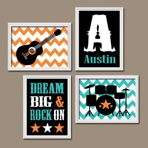 Wall Decor Music Theme : Guitar wall art music theme baby boy nursery decor big