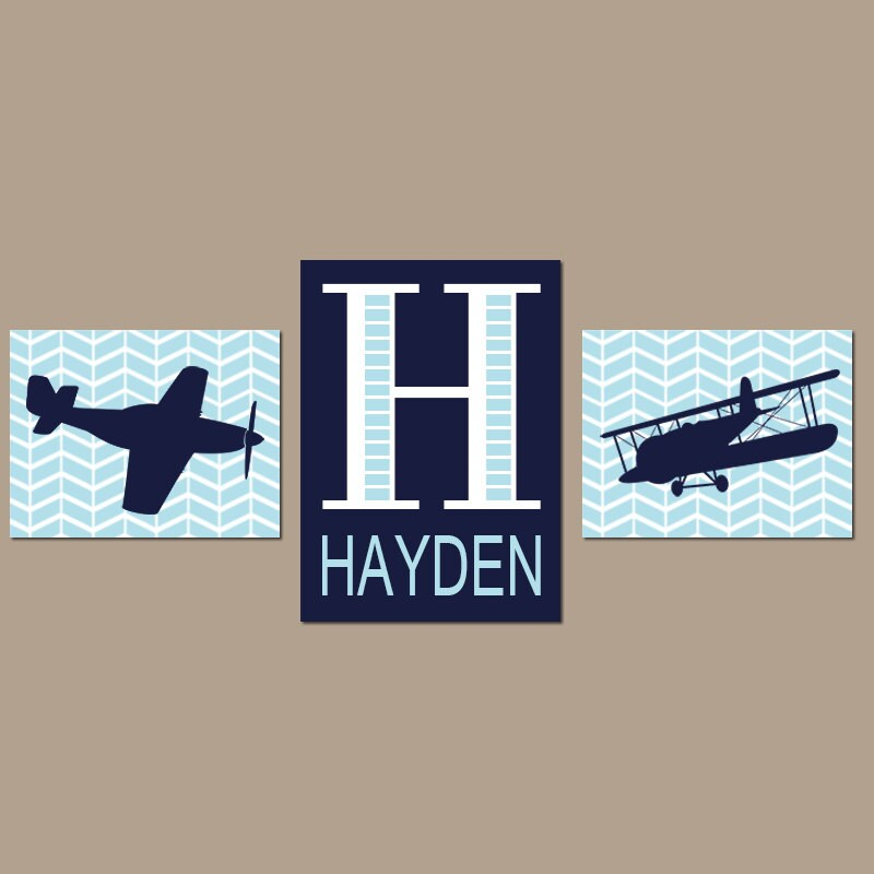 Airplane wall art baby boy nursery decor plane artwork for Airplane decoration