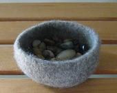Medium Grey Heather Felted Mini-Bowl - In Stock - Ready to Ship