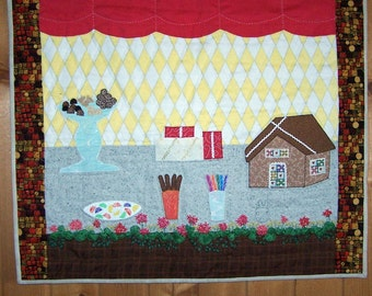 The chocolate shop wall art quilt