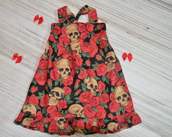 BadAss Baby - Skulls and roses halter twirl dress -  NB-5t custom boutique