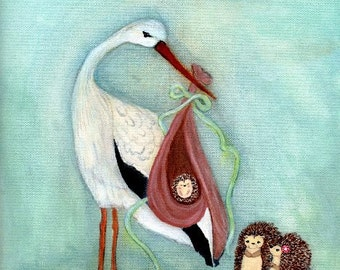 Hedgehog Print Baby Wall Art Stork Print Wall Decor---The Day You Arrived