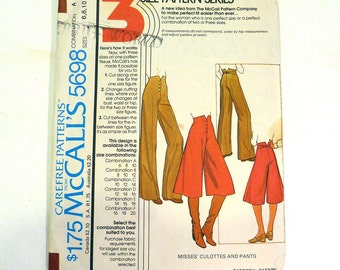 McCall's 5698 Misses' Culottes And Pants Sizes 6 8 &10 1977