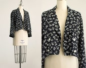 90s Vintage Black And White Floral Double Breasted Cropped Coat / Size Small / Medium