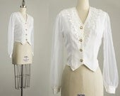 90s Vintage White Sheer Chiffon Sleeve Cropped Fit Button Down Blouse / Size Small