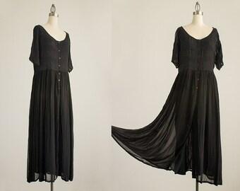 90s Vintage Black Floral Embroidered Button Down GauzeTunic Maxi Dress / Size Large