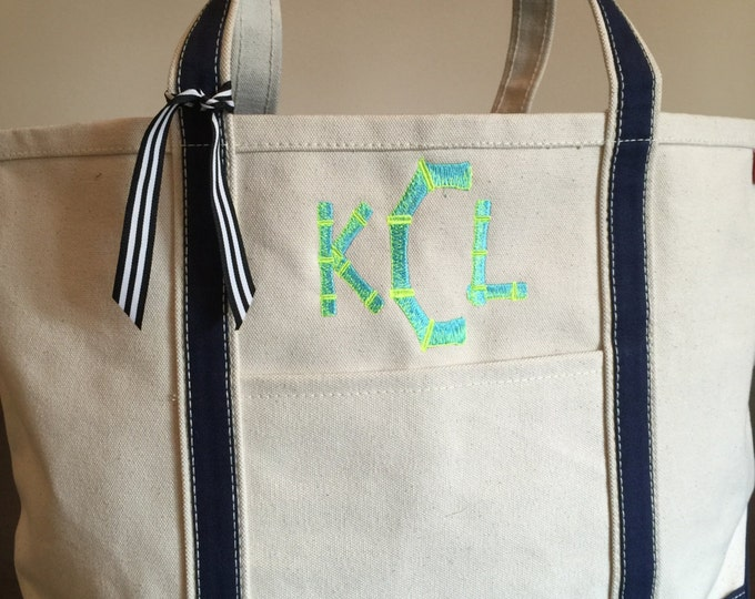 Canvas Monogrammed Beach Bag Pool Tote Bag Personalized Custom Embroidery
