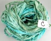 Sari Silk Ribbon, Recycled Silk Sari Ribbon, Aqua sari ribbon, recycled rag ribbon, aqua ribbon