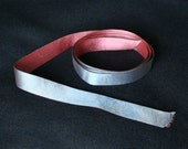 Antique Double Sided Pink Blue Gray Silk Ribbon Trim Ribbonwork