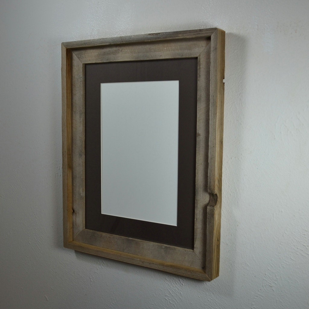 Primitive Barnwood Picture Frame 12x16 With Charcoal Mat For