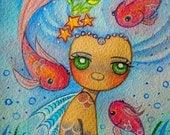 PRINT- watercolor- painting- tamia- chicasol- mermaid- ocean- fish- seas child- big eye art- seaweed- fantasy-