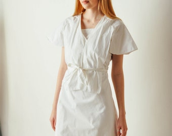 Vintage White Cotton Wrap Dress