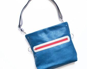 Crossbody Bag Women /  Leather Crossbody Bag / Crossbody Purse for Women / Leather Satchel / Shoulder Bag - The Abby Satchel in Pacific Blue