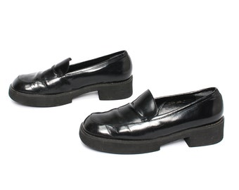 size 7.5 PLATFORM black leather 80s 90s CHUNKY GRUNGE loafers high heel boots