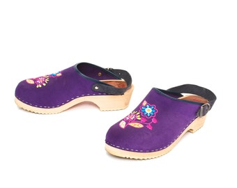 size 9 CLOGS purple leather 80s 90s PLATFORM wooden MULES