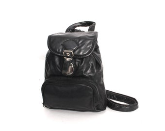 GRUNGE black vegan leather 80s 90s KNAPSACK convertible mini BACKPACK