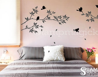 Tree Branches Wall Decal with Birds - Home Decor - Vinyl Wall Art - K021B