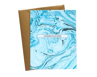 CONGRATULATIONS Marble Greeting Card Aqua/Indigo - Single Card